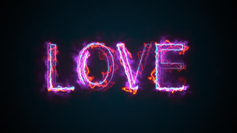 The word Love, computer generated. Burning inscription. Capital letters. 3d Live Action