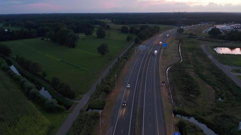 Wide Establisher over Freeway in Netherlands at Sunset Live Action
