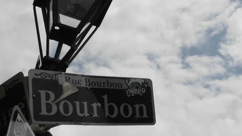 Time lapse shot of Bourbon Street sign in New Orleans,... Stock Video Footage