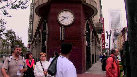 Time-lapse of pedestrians on a busy street corner Stock Video Footage