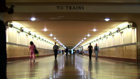 Time-lapse of crowds walking in an underground train station Stock Video Footage