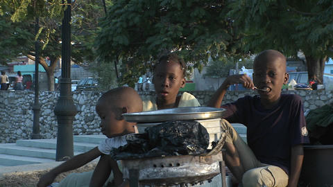 Refugees on the streets following the Haiti earthq Footage