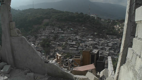 A view of Port Au Prince through the rubble follow Stock Video Footage
