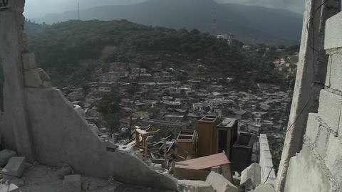 A view of Port Au Prince through the rubble follow Footage
