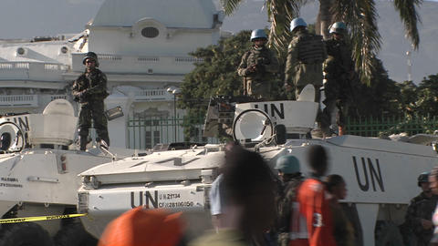 UN peacekeepers around the Presidential Palace in Stock Video Footage