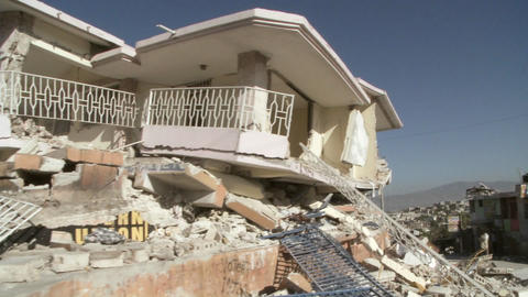 Destruction following the massive earthquake in Ha Stock Video Footage