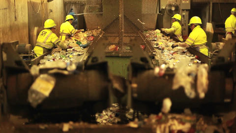 Excellent shot of workers in a recycling center so Footage