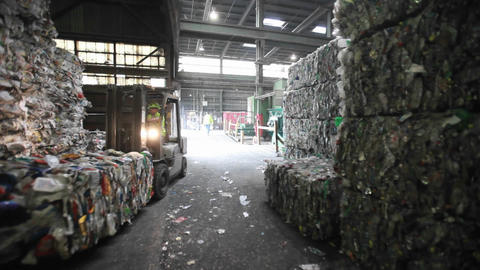 Aluminum cans are recycled at a center Footage