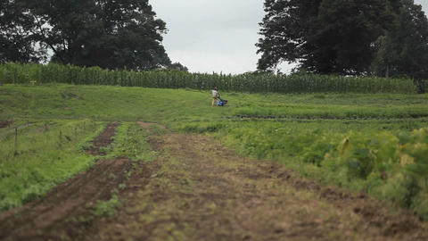 A man pushes a piece of farm equipment in an agric Footage
