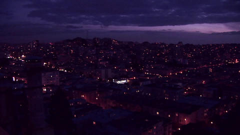 Panning shot the San Francisco area at golden hour Stock Video Footage