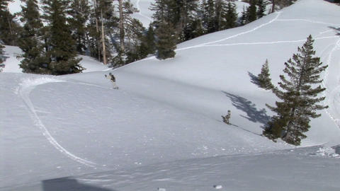 Medium-shot of a snowboarder snowboarding downhill across virgin powder Footage