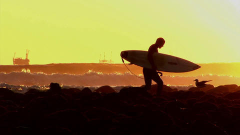 A surfer walks along the shore during golden-hour Footage