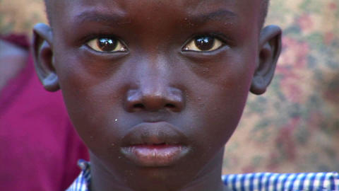 Close-up shot of a beautiful young child in Uganda Footage