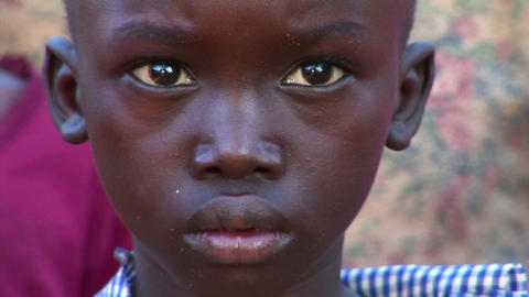 Close-up shot of a beautiful young child in Uganda Stock Video Footage