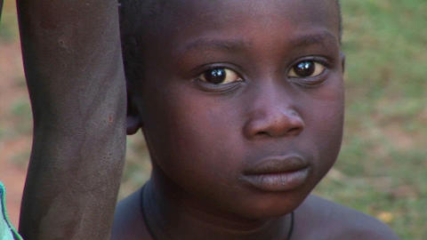 Orphans display sadness on their faces at a camp in Uganda, Africa Footage