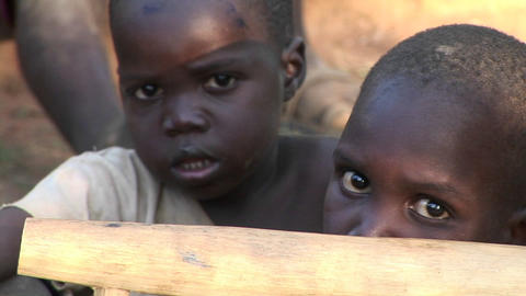 Close-up shot of beautiful young children at a camp for orphans in Uganda, Africa Footage