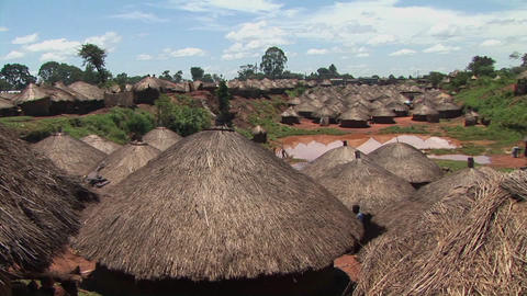 Pan-shot of the rooftops of a traditional village in... Stock Video Footage