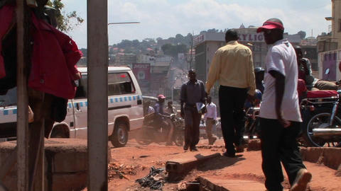 Zoom-out shot of a crowded street in Kampala, Uganda Footage