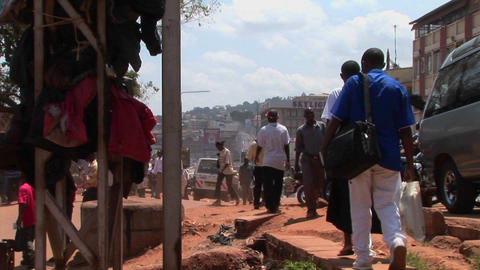 Zoom-out shot of a crowded street in Kampala, Uganda Stock Video Footage
