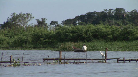 Medium-shot of a Ugandan fisherman rowing a skiff along a... Stock Video Footage