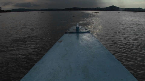 Point-of-view from the bow of a fishing boat traveling over Lake Victoria, Uganda Footage