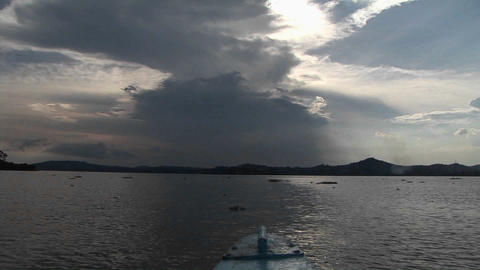 Point-of-view from the bow of a fishing boat traveling... Stock Video Footage