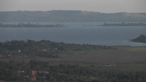 Medium-shot of Lake Victoria in Uganda under a light haze Footage