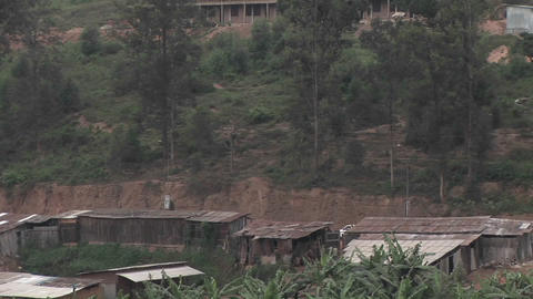 Pan-right slowly across a hillside residential... Stock Video Footage