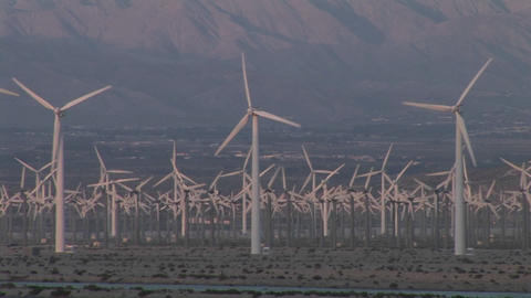 Windmills generate electricity in the California desert Footage