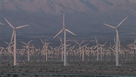 Windmills generate electricity in the California desert Stock Video Footage