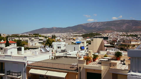 Wide establishing shot and pan of Athens, Greece t Stock Video Footage