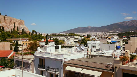 Wide establishing shot and pan of Athens, Greece t Footage