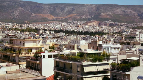 Wide establishing shot of Athens, Greece Stock Video Footage