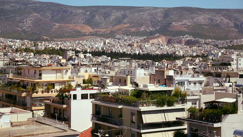 Wide establishing shot of Athens, Greece Footage