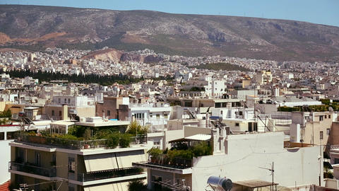 Wide establishing shot panning across Athens, Gree Stock Video Footage