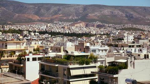 Wide establishing shot panning across Athens, Gree Stock Video Footage