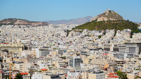 Wide establishing shot of Athens, Greece in bright Stock Video Footage