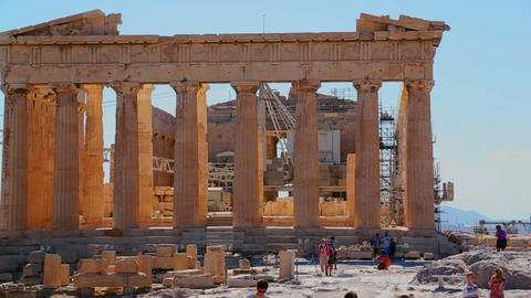The Acropolis and Parthenon on the hilltop in Athe Stock Video Footage