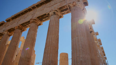 Low angle pan of the columns of the Acropolis and  Footage