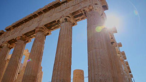 Low angle pan of the columns of the Acropolis and Stock Video Footage