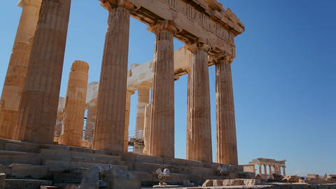 Low angle shot of the columns of the Acropolis and Stock Video Footage