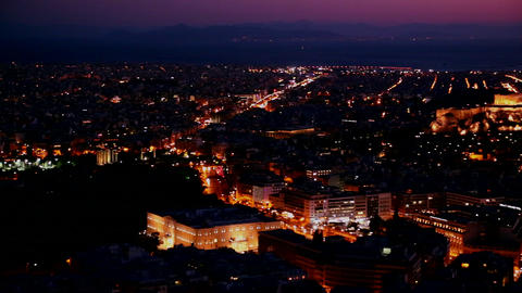 Beautiful establishing panning shot of Athens, Gre Stock Video Footage