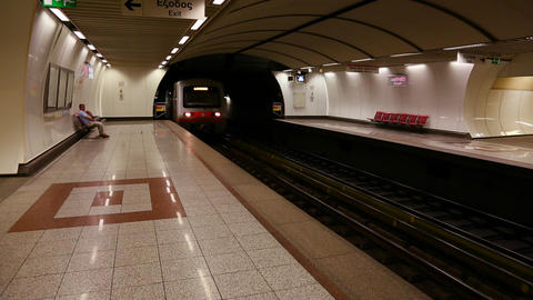 The subway arrives at an underground station in At Footage