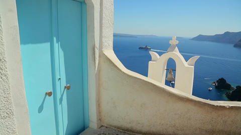 A cruise ship in the distance behind a Greek Islan Stock Video Footage
