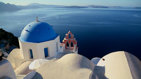 Pan across Greek Orthodox church on the Greek isla Stock Video Footage