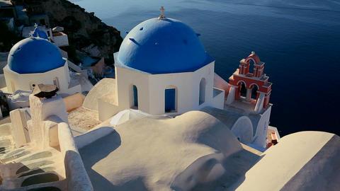 A beautiful Greek Orthodox church on the Greek isl Stock Video Footage