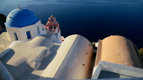 A beautiful slow pan of a Greek Orthodox church on Stock Video Footage
