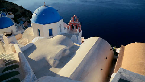 A beautiful slow pan of a Greek Orthodox church on Footage