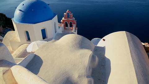 Tilt up to a Greek Orthodox church on the Greek is Footage