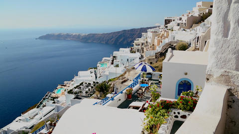 Colorful houses line the hillsides of the Greek Is Footage